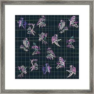 Mahjong Birds On Blue Framed Print