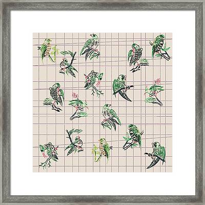 Mahjong Birds On Cream Framed Print