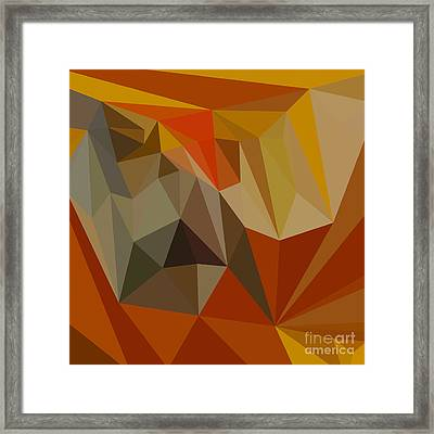 Mahogany Brown Abstract Low Polygon Background Framed Print by Aloysius Patrimonio