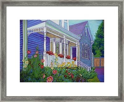 Mahone Bay Hollyhocks Framed Print