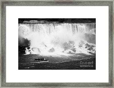 Maid Of The Mist Boat Below The American And Bridal Veil Falls Niagara Falls Ontario Canada Framed Print by Joe Fox