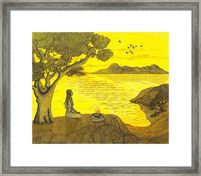 Maiden And The Mountains Framed Print by Judy Cheryl Newcomb