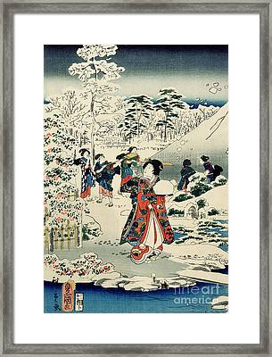 Maids In A Snow Covered Garden Framed Print