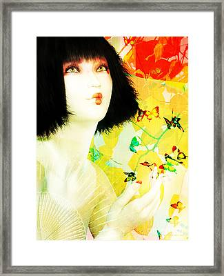 Maiko And Butterflies Framed Print by Shanina Conway