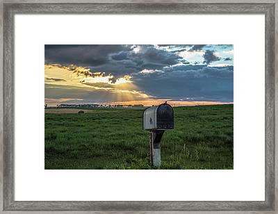 Mail Box In North Dakota  Framed Print