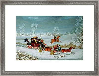 Mail Coach In The Snow Framed Print by John Pollard