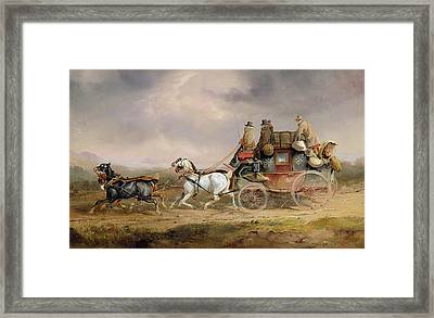 Mail Coaches On The Road - The Louth-london Royal Mail Progressing At Speed Framed Print by Charles Cooper Henderson