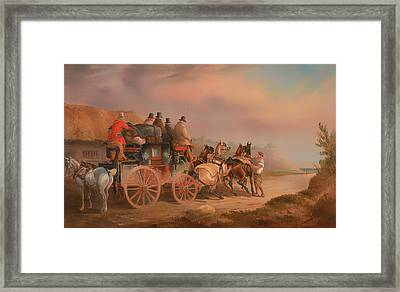 Mail Coaches On The Road - The Quicksilver Devonport - London Mail About To Start With A New Team Framed Print by Mountain Dreams
