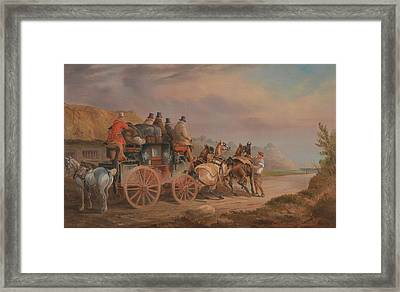 Mail Coaches On The Road,  The Quicksilver Devonport-london Royal Mail About To Start With A New Tea Framed Print by Celestial Images