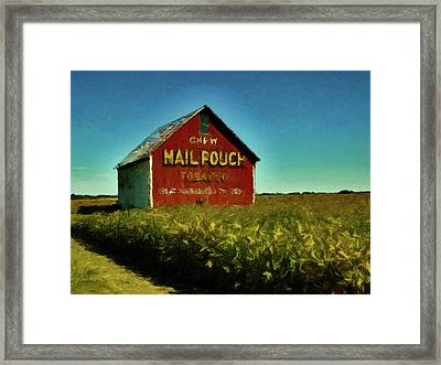 Framed Print featuring the painting Mail Pouch Barn P D P by David Dehner