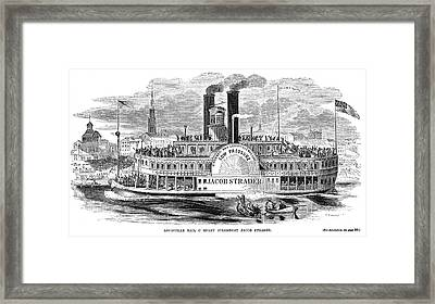 Mail Steamboat, 1854. /nthe Louisville Mail Company Steamboat Jacob Strader. Wood Engraving, 1854 Framed Print by Granger