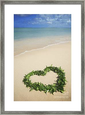 Maile Lei On Beach II Framed Print by Brandon Tabiolo - Printscapes