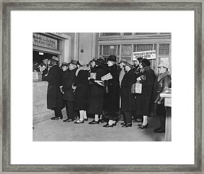 Mailing Christmas Packages Framed Print by Underwood Archives