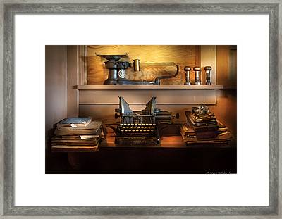 Mailman - At The Post Office Framed Print by Mike Savad