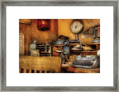 Mailman - In The Office Framed Print by Mike Savad