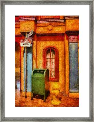 Mailman - No Parking Framed Print by Mike Savad