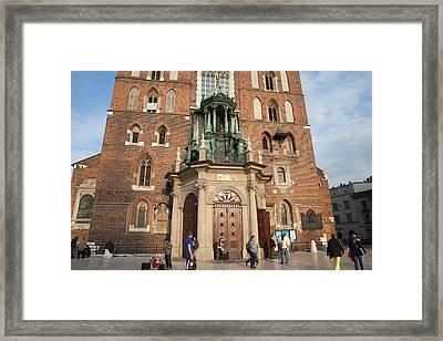 Main Door To The St. Mary Basilica In Krakow Framed Print by Artur Bogacki