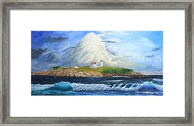 Framed Print featuring the painting Main Lighthouse by Mike Ivey