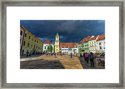 Main Square In The Old Town Of Bratislava, Slovakia Framed Print