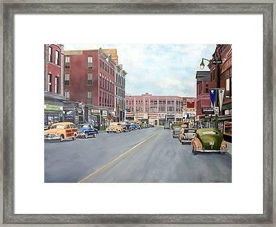 Main St New Britain Ct 1950 Centenial Framed Print by John Fitzsimmons
