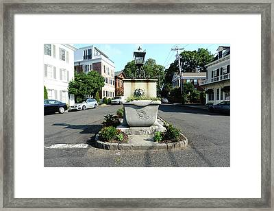 Main Street And Harbor  Framed Print by Sue Schwer