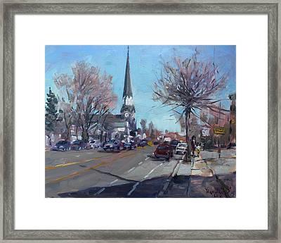 Main Street In Williamsville Framed Print by Ylli Haruni