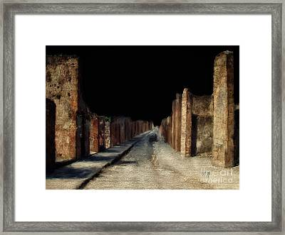 Framed Print featuring the digital art Main Street, Pompeii by Lois Bryan