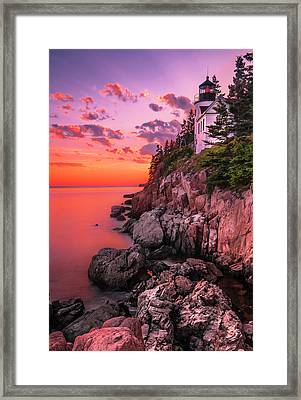 Framed Print featuring the photograph Maine Bass Harbor Lighthouse Sunset by Ranjay Mitra
