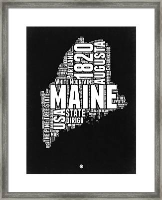 Maine Black And White Map Framed Print by Naxart Studio