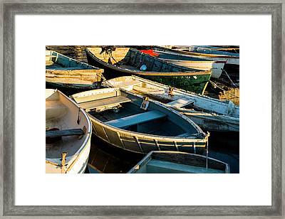 Framed Print featuring the photograph Maine Boats At Sunset by Ranjay Mitra