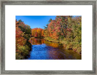 Maine Brook In Afternoon With Fall Color Reflection Framed Print by Jeff Folger