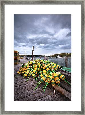 Maine Buoys And Storm Clouds Framed Print