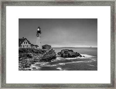 Maine Cape Elizabeth Lighthouse Aka Portland Headlight In Bw Framed Print