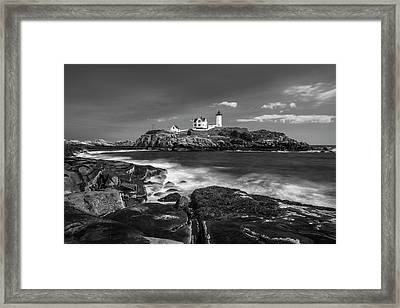 Maine Cape Neddick Lighthouse In Bw Framed Print