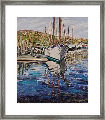 Maine Coast Boat Reflections Framed Print by Richard Nowak