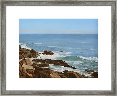 Maine Coast Framed Print by Linda Tenukas