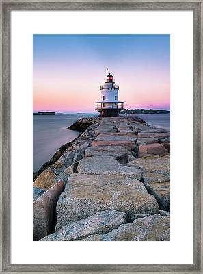 Framed Print featuring the photograph Maine Coastal Sunset Over The Spring Breakwater Lighthouse by Ranjay Mitra