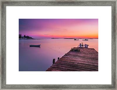 Framed Print featuring the photograph Maine Cooks Corner Lobster Shack At Sunset by Ranjay Mitra