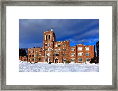 Maine Criminal Justice Academy In Snow Framed Print by Olivier Le Queinec