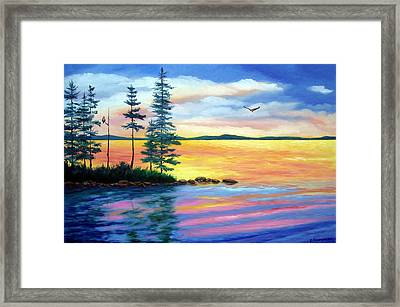 Maine Evening Song Framed Print by Laura Tasheiko