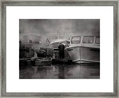 Maine Fog And Fisherman Framed Print by Bob Orsillo