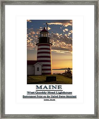 Maine Good Morning West Quoddy Head Lighthouse Framed Print by Marty Saccone
