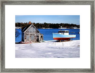Maine Harbor Winter Scene Framed Print