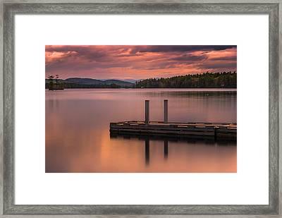 Maine Highland Lake Boat Ramp At Sunset Framed Print