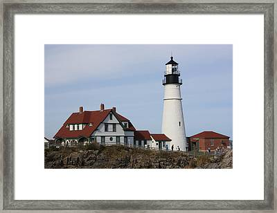Maine Light House Framed Print by Sue Mayor