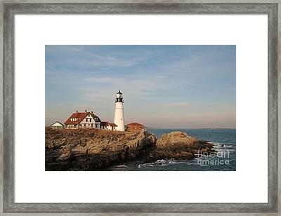 Maine Lighthouse Framed Print by Alberta Brown Buller