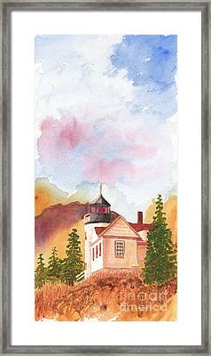 Maine Lighthouse In Morning Light Framed Print
