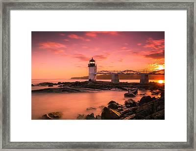 Maine Lighthouse Marshall Point At Sunset Framed Print