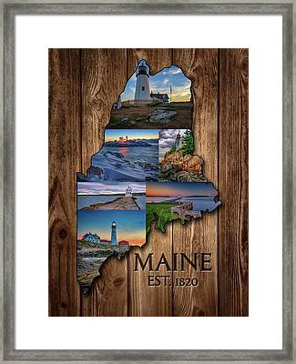 Maine Lighthouses Collage Framed Print