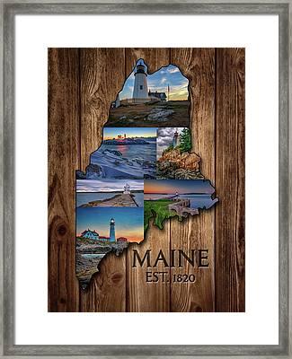 Maine Lighthouses Collage Framed Print